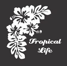 Flowers Tropical Life - Die Cut Vinyl Window Decal/Sticker for Car/Truck