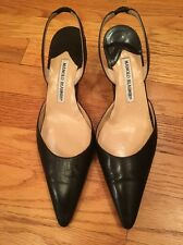 Manolo Blahnik Black Slingback Leather Shoes Size 39