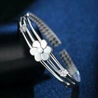 Women Charm Jewelry Bangle Bracelet 925 Sterling Solid Silver Crystal Cuff Gift