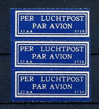 NEDERLAND 1930  KLM   AIRMAIL LABEL  (37 AA- 3730 )  PANE OF 3  ** MNH