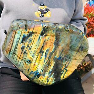 12.3LB Natural Labrador moonstone quartz crystal free form mineral specimen 12