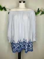 New Directions Off The Shoulder Striped Embroidery Top Women's Sz 2X