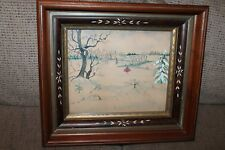 ANTIQUE AMERICAN FOLK ART WATER COLOR ICE SKATING AAFA JOHN TAYLOR 1950