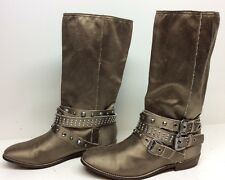 WOMENS GUESS RIDING SATIN BROWN BOOTS SIZE 8.5 M