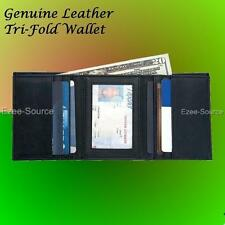 Wholesale Lot of 12pc Mens Solid Genuine Leather Tri-Fold Wallet for Traveling