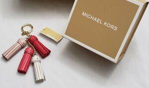 GIFT IT!NWT + BOX MICHAEL KORS Pink Leather CASCADING TASSEL Key Chain Fob Charm