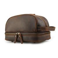 Vintage Real Leather Makeup Toiletry Bag Wash Organizer Bag Travel Cosmetic Bag