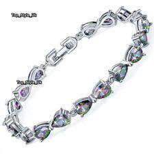 Silver & Black Fire Opal Tennis Bracelet Women Gifts for Her Wife Mum Lady J657
