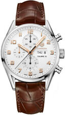 Tag Heuer Carrera White Dial Brown Leather Strap Men's Watch CV2A1AC.FC6380 rose