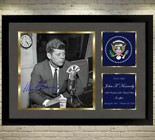 John F Kennedy U S A President signed autograph photo print picture Framed