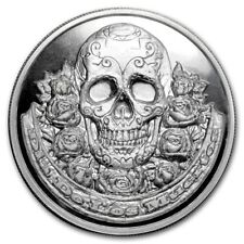 """2 oz 999 Fine Silver Round """"DIA DE LOS MUERTOS"""" - DAY OF THE DEAD - Sugar Skull"""