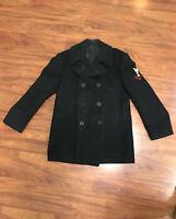 Vintage Size 40 Navy 100% Wool Pea Coat (R)