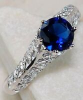 2CT Blue Sapphire & White Topaz 925 Solid Sterling Silver Ring Jewelry Sz 7, PR8