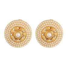 Indian Bollywood Gold Plated White Pearl Stud Tops Earrings Wedding Jewelry