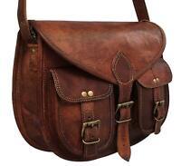 Bag Women Vintage Style Genuine Brown Leather Cross Body Shoulder Handmade Purse