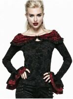 New PUNK RAVE Gothic Elegant Top Blouse Top Shirt Black & RED T-369 Fast Postage