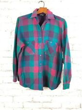 Vintage Woolrich USA Womens Plaid Wool Shirt Size 12 Pink Purple Teal