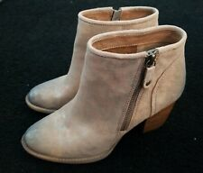 Sofft Coleta Bootie 7 M Brown Anthracite Metallic Suede Distressed Side Zipper