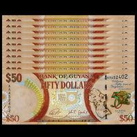 Lot 10 PCS, Guyana 50 Dollars, 2016, P-41, Prefix AA, 50th COMM., Banknotes, UNC