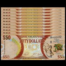 Lot 10 PCS, Guyana 50 Dollars, 2016, P-New, 1/10 bundle UNC>50th Commemorative