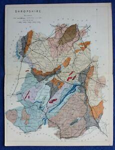 Original antique GEOLOGICAL MAP, SHROPSHIRE, RAILWAYS, Reynolds, 1864-89