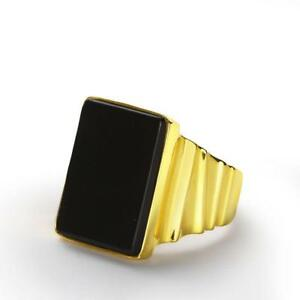 Mens 10K Solid Yellow GOLD with GENUINE ONYX Black Gemstone Vintage Ring all sz