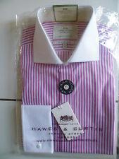 Hawes Curtis Shirt Fuchsia Pink Stripe White Contrast Collar Double Cuff 15/35