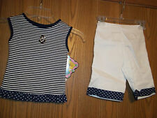 Girls Size 12M Picture Me Anchors Away Blue White 2 Piece Top Pants