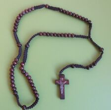 NEW simple & modest dark wood rosary beads Crucifix Cross ~ Catholic