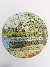 "VTG 1950's Tuco 6"" Round Miniature Jigsaw Puzzle Along River 55+ pcs C ALL PICS"