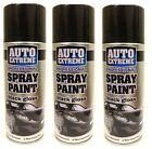 3 X 400ml Black Gloss Auto Extreme Aerosol Spray Cans Cars Vans Auto Spray Paint