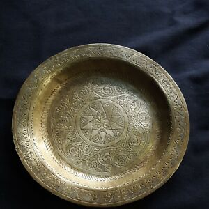 Antique Middle Eastern Persian Art Hammer Engraved Brass Dish Pentagram Engraved