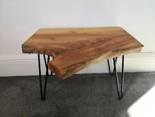Handmade Solid Elm Wood Coffee Table, Side Table with Steel Hairpin Legs.