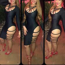 Abito aperto Nudo scollo Spacco Aderente Lacci Ballo Party Lace Up Slits Dress M
