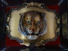 Vintage Raintree Western Belt Buckle Tiger 24k Gold Overlay with BOX