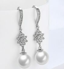 18K White Gold Plated Swarovski Crystal Snowflake Pearl Drop Earrings