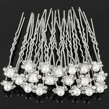 20x Wedding Bridal Crystal Rhinestone White Pearl Flower Hair Pin Clips U Shape