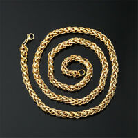 5mm 7mm Mens Chain Necklace Wheat Chain 18K Gold Plated Stainless Steel Jewelry
