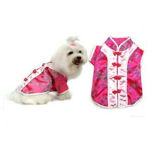 Pink Chinese Cutie Dog Costume Traditional Asian Dress Fabric Woven Buttons