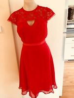 Ladies Red ELISE RYAN Dress AUS  Size 8 Formal Fitted Lace Cut Out