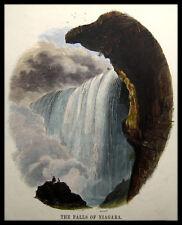NIAGARA FALLS, USA - CANADA.Originaler kolorierter Holzstich 1880
