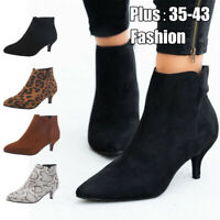 Womens Ankle Boots Pointed Toe Low Mid Kitten Heel Lady Zip Booties Winter Shoes