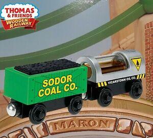 THOMAS & FRIENDS WOODEN RAILWAY ~ OIL & COAL CARGO  ~ NEW OPEN BOX SPECIALS!