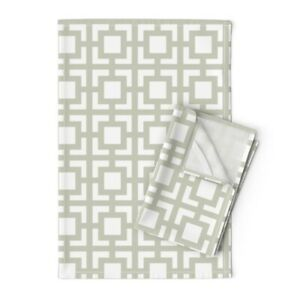 Moroccan Geometric Gray Sage Linen Cotton Tea Towels by Roostery Set of 2