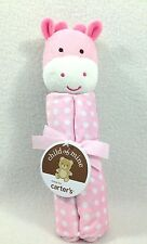 CARTER'S Child of Mine Pink Giraffe Polka Dot Lovey Baby Security Blanket Rattle