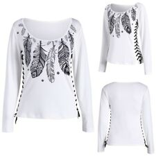 Women Casual Feather Lace-up Tops Lateral Long Sleeve T-shirt Bottoming Pullover