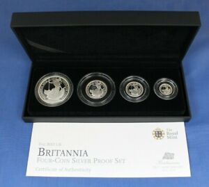 2012 Royal Mint Silver Proof Britannia 4 coin Set in Case with COA