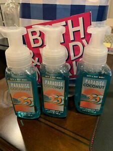 3 X Bath & Body Works PARADISE COCONUT Gentle Foaming Hand Soap