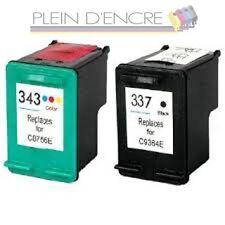2 cartouche d'encre remanufacturées  HP 337 XL HP 343 XL pour Photosmart C4180