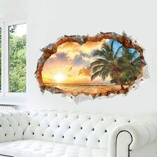 Sonnenuntergang Wandtattoo Wandsticker Kinderzimmer Ausblick Palme Meer 3D #93